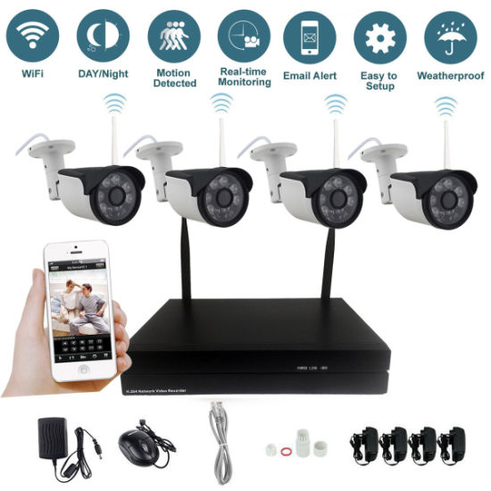 4CH Wireless NVR HD 720p IP Camera CCTV Security System