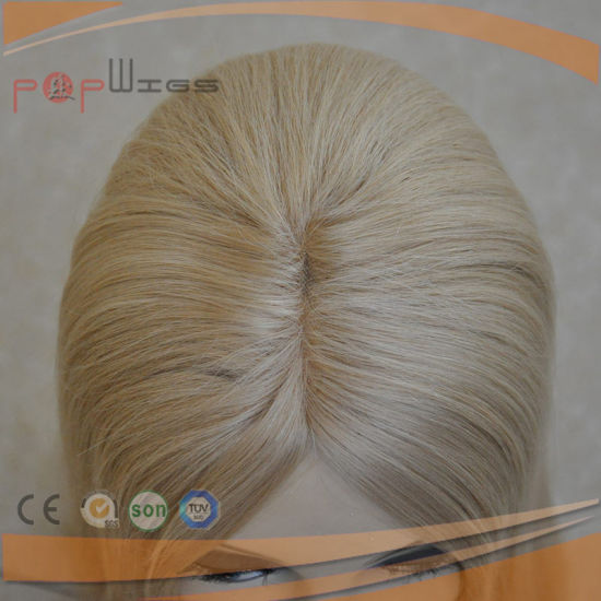 Blonde Comb Mono Top Wefted Jewish Topper Toupee (PPG-l-01469) pictures & photos