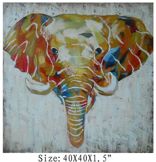 100% Handpainted High Textured Elephant Art on Canvas (Item #705343)