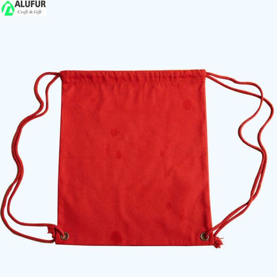 Bulk Cotton Polyester Cinch Bag with Rivet Corner