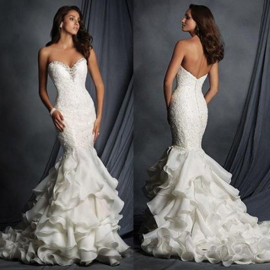 Strapless Lace Bridal Dress Cascading Ruffles Ball Gown Wedding Dress Yao9