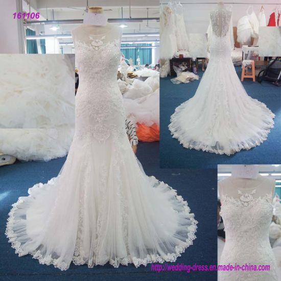Wholesale Lace Bodice Sleeveless Sheath Wedding Dress with Lace Edge of The Skirt