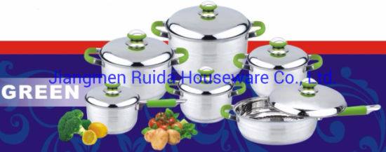 12PCS Stainless Steel Cookware Set with Stainless Steel Lid with Green Silicone Handle