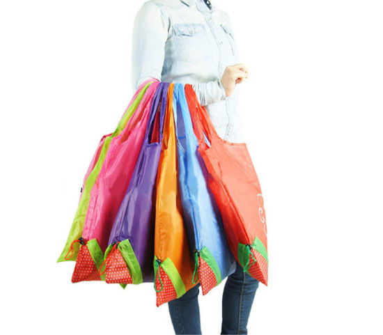 b24cffe2628 Hot Eco Storage Handbag Strawberry Foldable Shopping Bags Reusable Folding  Grocery Nylon Large Bag 8 Colors
