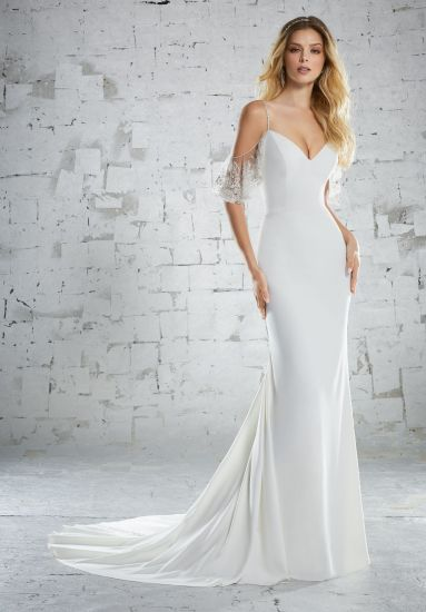 Top Quality Straps Soft Satin Off Shoulder Mermaid Bridal Wedding Gown