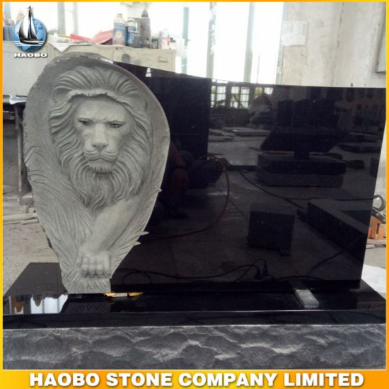 Black Granite Monument with Lion Carved Headstone