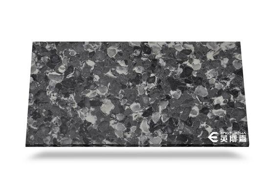 China Dark Grey Galaxy Quartz Stone Slabs Polished China Quartz