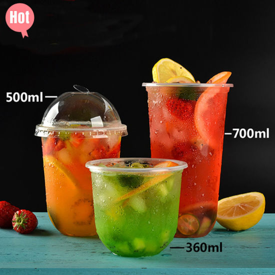 Disposable U-Shaped Plastic Food Packaging Cold Drinking PP/Pet Cup for Flower Tea Juice