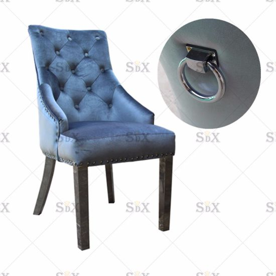 Eden Button Back Crushed Velvet Dining Chair Silver With Kd Leg