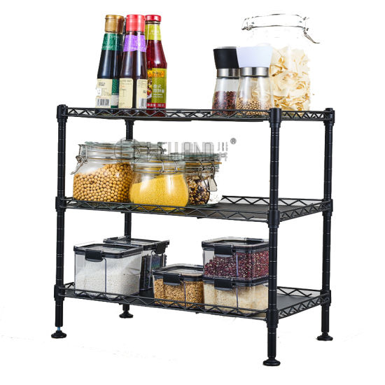 Multi-Functional 3-Tier Mini Black Epoxy Coated Metal Kitchen Wire Rack on Table pictures & photos