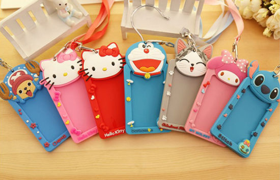 Embossed Cartoon Animal Shape PVC Silicone Bus ID Card Holder