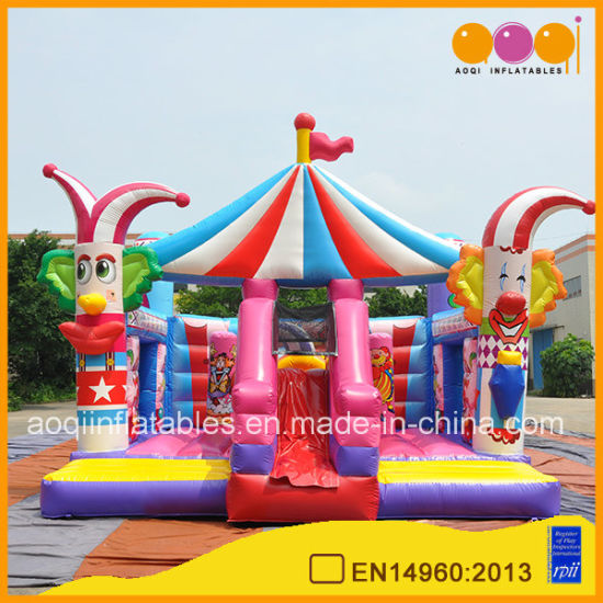 Kindergarten High Quality Circus Clown Inflatable Combo Bouncers with Factory Price (AQ01859) pictures & photos