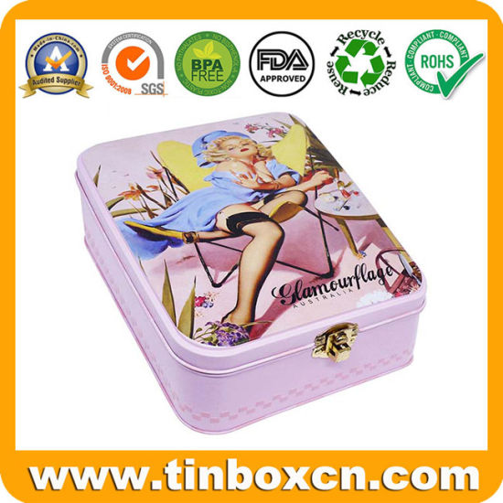 Premium Rectangle Plastic Inserts Metal Tin Cosmetics Box with Clasp for Woman Girls Makeup Gift pictures & photos