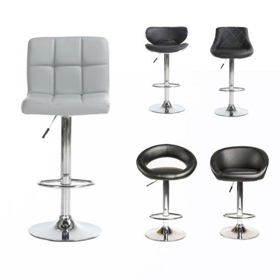 Modern PU Leather Bar Chair Kitchen Commercial Stainless Steel Bar Stool