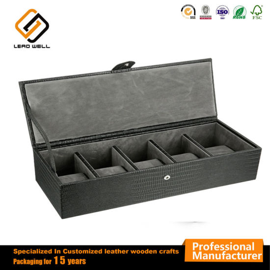 5 Fashion Design PU Leather Watch Storage Box Wrap Case