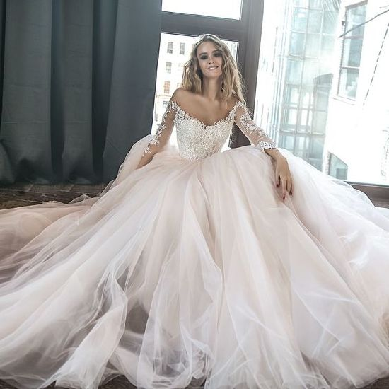 487b794309136 Shinny Lace Bridal Ball Gowns Champagne Tulle Princess Wedding Dress Lb1851