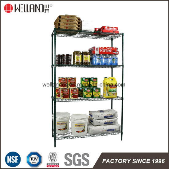 4 Tiers Commercial Kitchen Food Storage Rack Green Wire Shelving Starter Kit pictures & photos