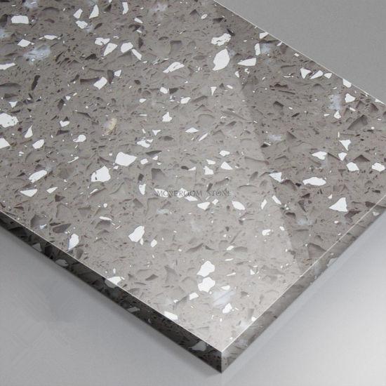 Engineered Stone Kitchen Countertops Design Crystal Grey Quartz