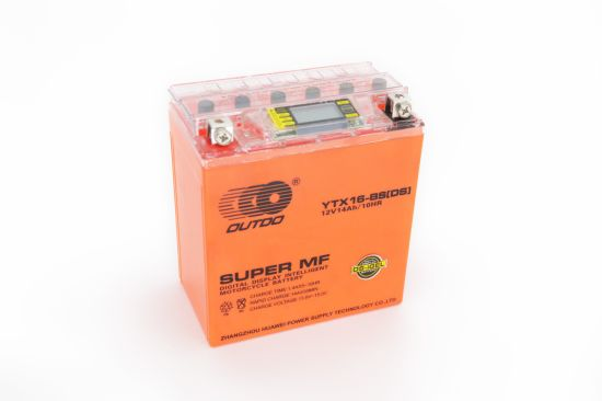 12V 16ah Ytx16-BS Outdo Digital Display Gel Mf Maintenance Free Factory Activated Power Sports High Performance Rechargeable Lead Acid Motorcycle Battery