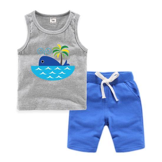 Whale Island Print Loose Cotton Kids Vest Set Baby Clothes