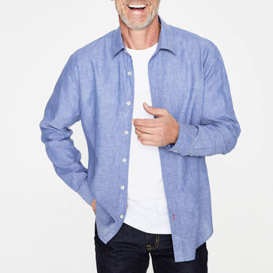 Mens Blue Chambray Linen Cotton Shirt