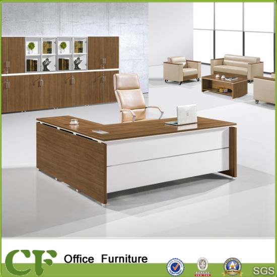 China L Shape 18 Meter Melamine Mfc Wooden Office Executive Desk