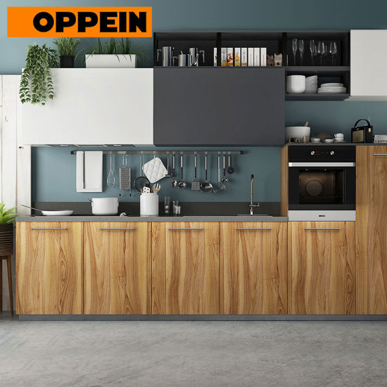 China Oppein 360cm Wood Grain Pre-Assembled Kitchen Cabinet ...