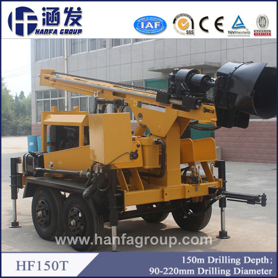 China 150m Hf150t Portable Water Well Drilling Rigs for Sale