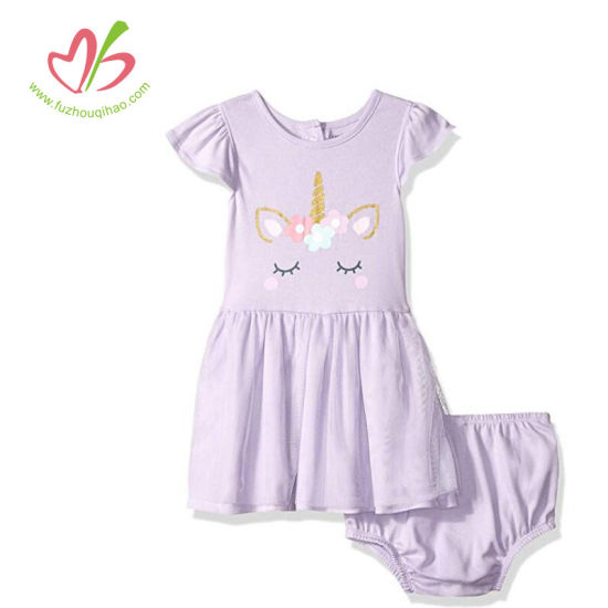 Baby Girl Clothing Unicorn Printing Dress with Underwear