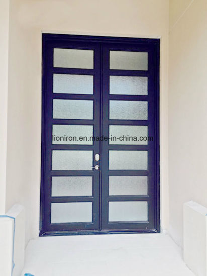China Modern Design Ornamental Wrought Iron Double Entry Door