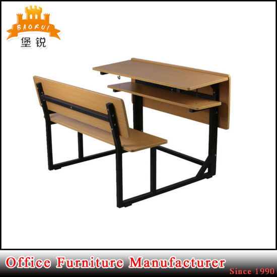 Double Seat Metal Frame MDF Panel Student Reading Desk School Chair And  Table