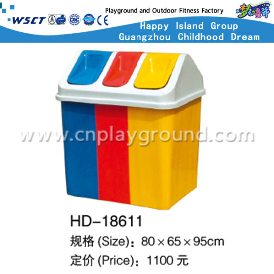 Outdoor Colorful Plastic Garbage Bin (HD-18611)