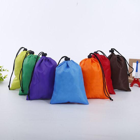 Custom Printing Logo Polyester Packaging Bags Eco Friendly Storage Drawstring Bags