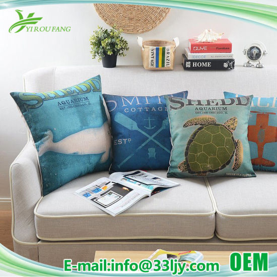 Customized Discount Cotton Linen Cushion Covers for Sofa pictures & photos