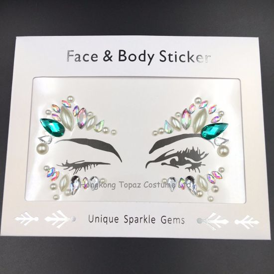 Stick on Face Gem Sticker Performance Makeup Body Art Accessories All in  One Face Jewel (J22)