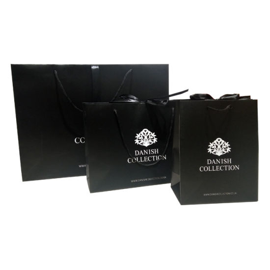 Cusomized Logo Printed Black Shopping Gift Paper Bags