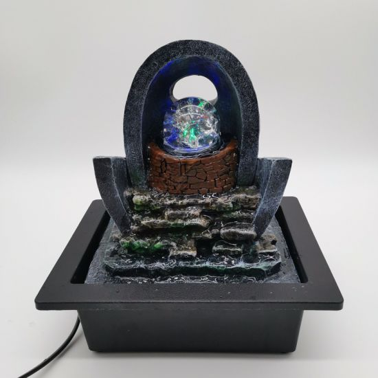 Polyresin Tabletop Indoor Fountain with LED Light Home Decoration