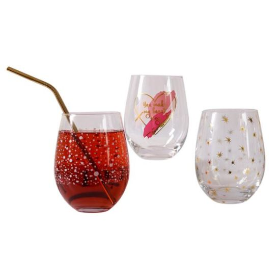 Crystal Glass Beverage Cup, Colorful Printing. Glass Wine Cup, Bar Cup