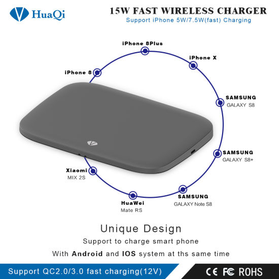 16 Coils Patent Design 15W Wireless Mobile Charger with Fast Charging for 2  Mobiles (IOS/Android)