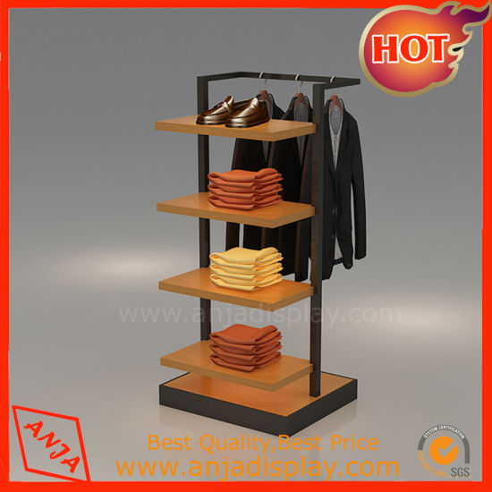 High Quality Tabletop Retail Whole Metal Woden Clothing Display Unit With Holder