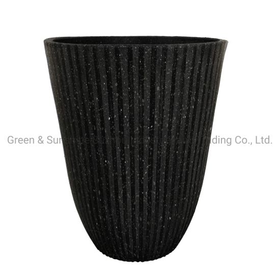 Manufacturer Wholesale Modern Nordic Style High Quality Decorative Vertical Stripes Plastic Flower Pot Plant Pot Garden Planter
