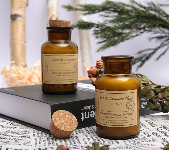 Custom Logo Amber in Glass Jar Wooden Lid Candle Reagent Bottle Scented Candles