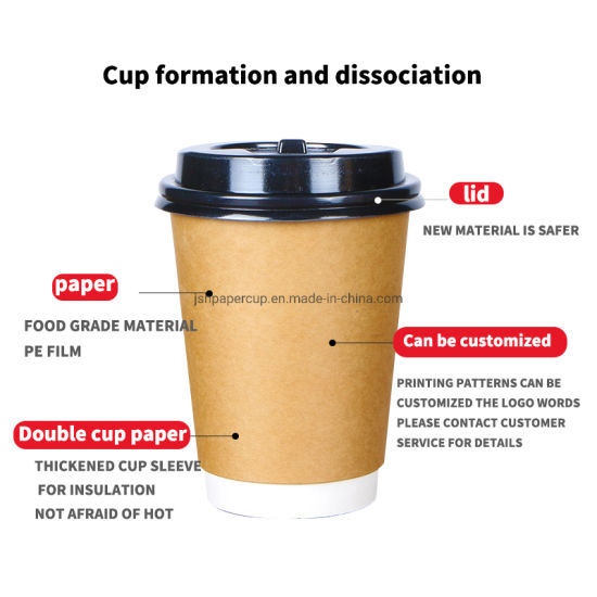 Wholesale Eco Friendly Disposable Full Printing Color 8oz 14oz 16oz Double Wall Customized Coffee Paper Cups for Hot Water Coffee Juice Drinking
