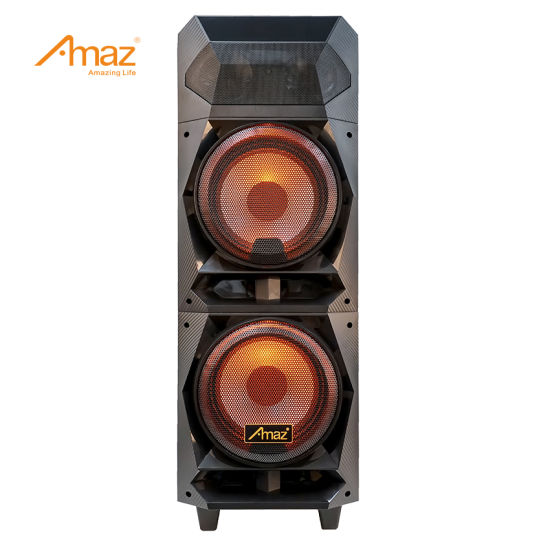 Amaz Private Models Wooden Case Double 8 Inch Rechargeable Party Speakers