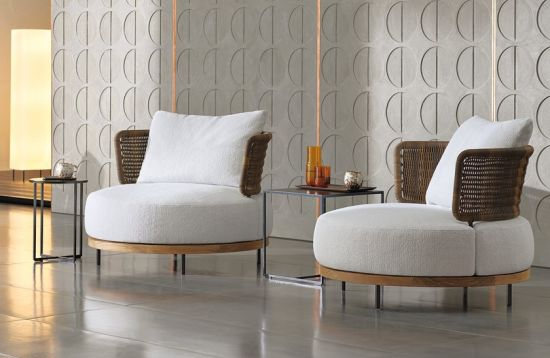 Teak Wood Leisure Sofa with Rattan Backrest and Thick Seat
