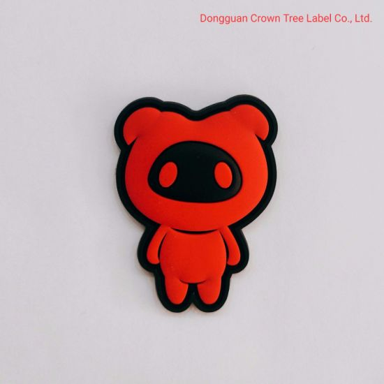Red Bear Silicone Label for Clothing Decoration