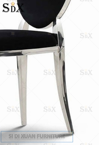 Oval Black Fabric Stainless Steel Dining Chair for Hotel pictures & photos