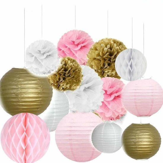Umiss Paper Crafts Honeycomb Balls Lanterns POM Poms Birthday Wedding Party Decoration