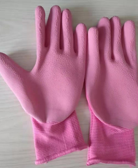 PU/Nitrile Coated Yellow/Green Safety Garden Working Gloves
