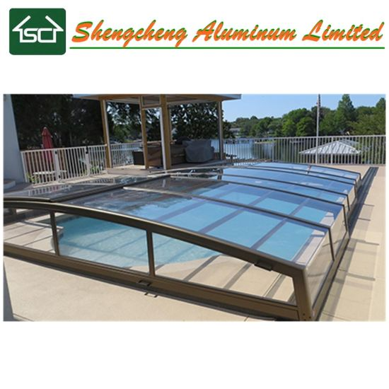 Free Standing Polycarbonate Retractable Pool Cover/ Aluminum Swimming Pool  Enclosure
